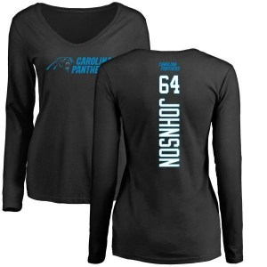 Dorian Johnson Carolina Panthers Women's Black Backer Slim Fit Long Sleeve T-Shirt -