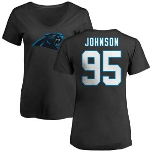 Charles Johnson Carolina Panthers Women's Black Pro Line Any Name & Number Logo Slim Fit T-Shirt -