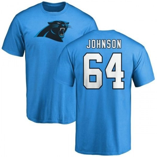 Dorian Johnson Carolina Panthers Men's Blue Name & Number Logo T-Shirt -